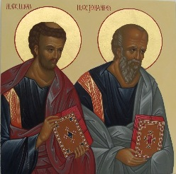Sts. evangelists Luke and John on the Royal doors